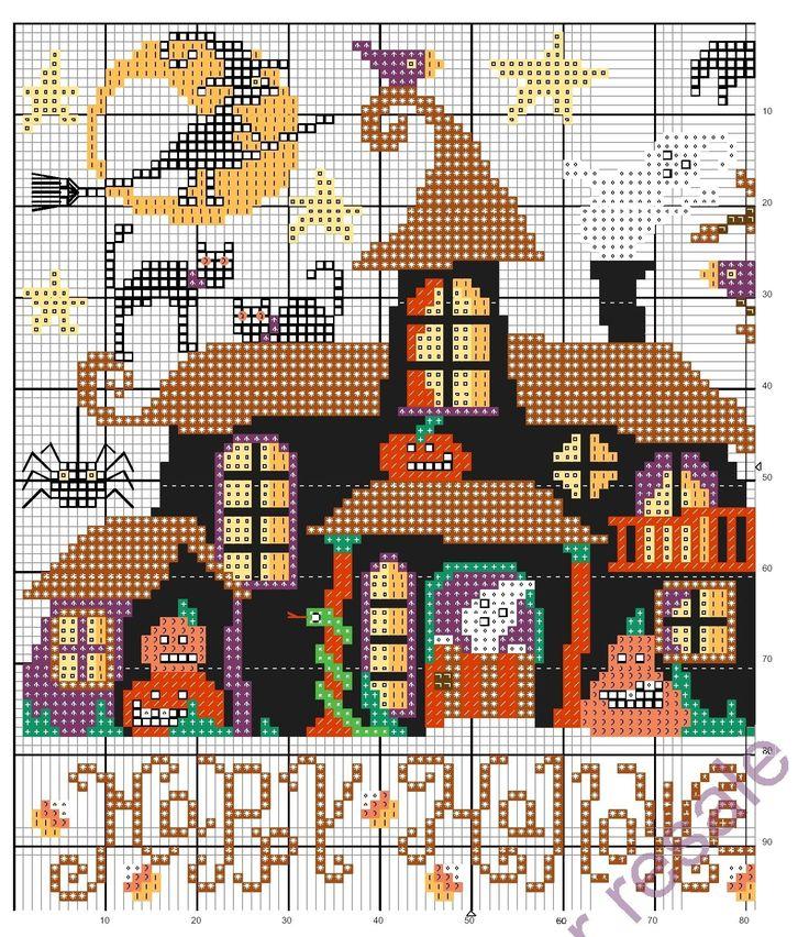 Points de croix *<3* Cross stitch  Halloween  -Hauted house