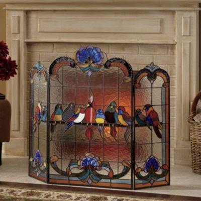"""""""Birds on a Wire"""" Stained Glass Fireplace Screen, Seventh Avenue"""