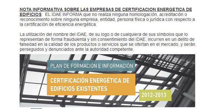 Los portales de certificación energética que utilicen el logotipo del IDAE en sus páginas web serán sancionados. Analizamos tal situación. #certificacion y #arquitectura
