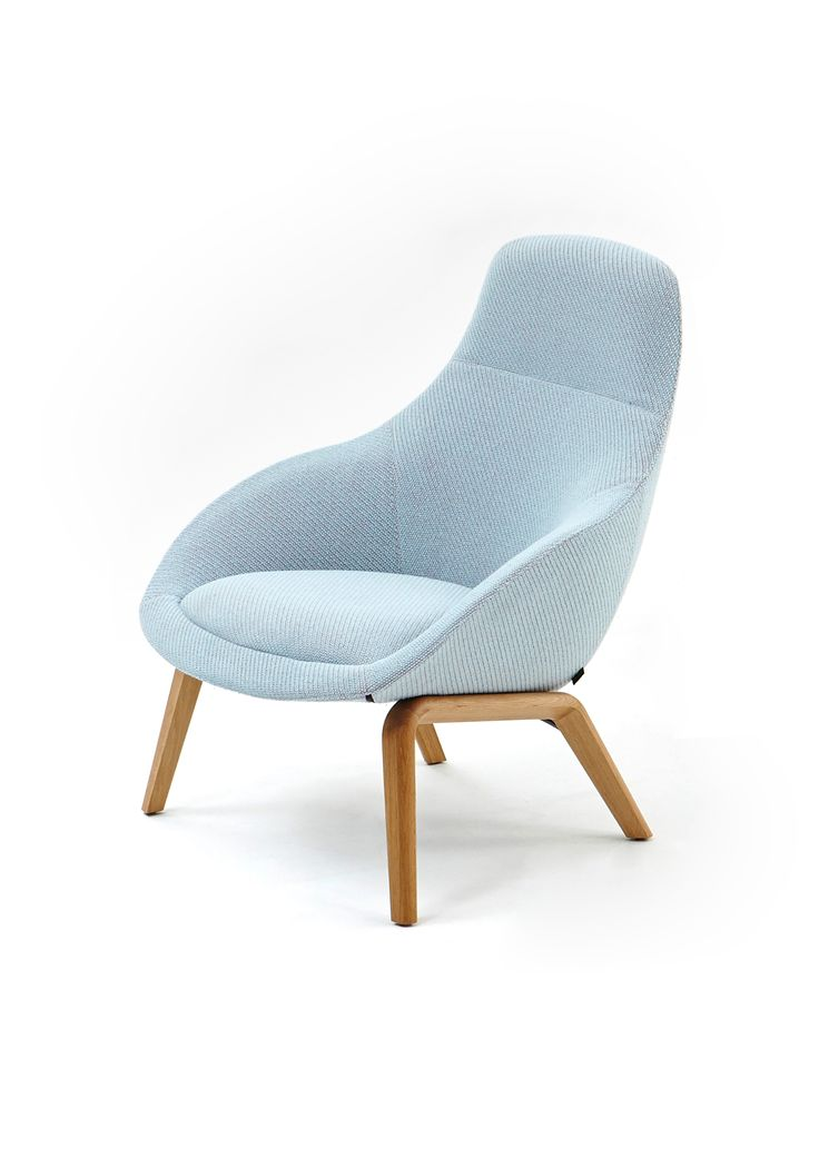 Powder Blue, Oak Base Always Lounge Chair