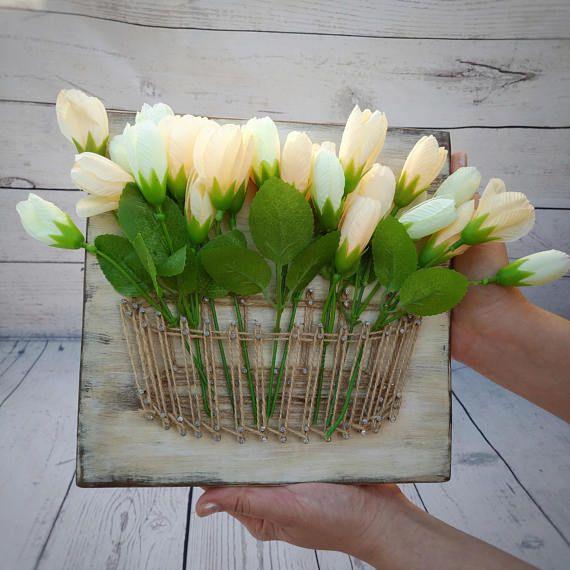 4th anniversary string art basket with artificial flower gift – 3d modern wall decor – Rustic Mason Jar Vase – Creamy Flower Spring