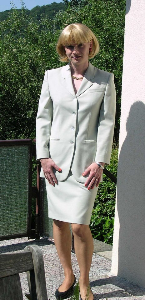 Me in a light grey skirtsuit from my mother-in-law ...