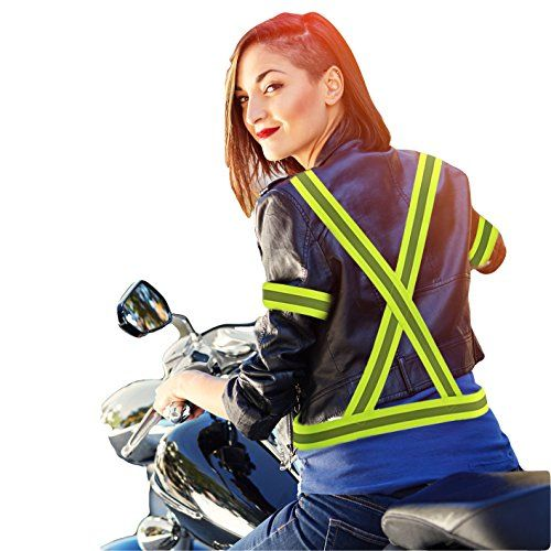 Roadside Emergency Safety Reflective Vest And 2 Armbands - High Visibility Jacket ,Elastic and Fully Adjustable For : Running ,Walking, Motor Cycling Day / Night Activities- Reflected Carry Bag added