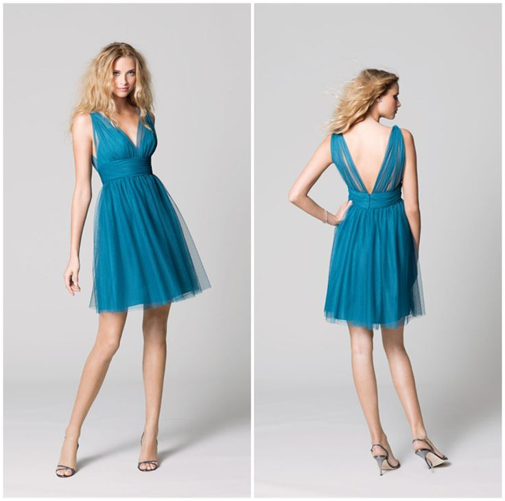Blue Short Prom Dresses Sexy V-Neck Backless Short Graduation Dresses Cheap Sleeveless Tulle A-Line Homecoming Dresses 2016