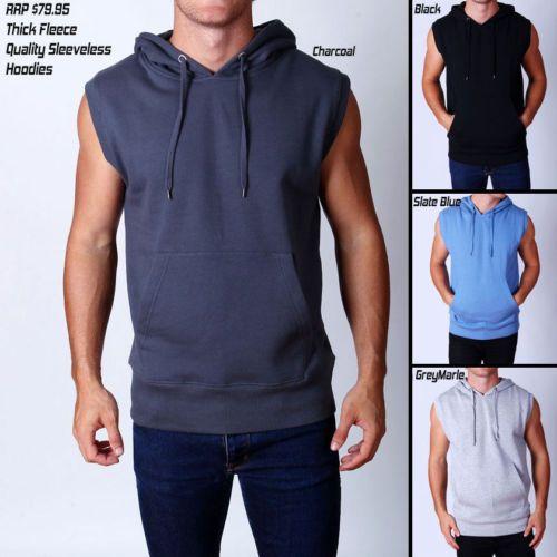 Mens Sleeveless Hoodies Gym Casual Fleece Hoody Cut Off Sleeves | eBay