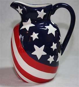 Red White Blue 56 Ounce Hand Painted Ceramic Pitcher | eBay