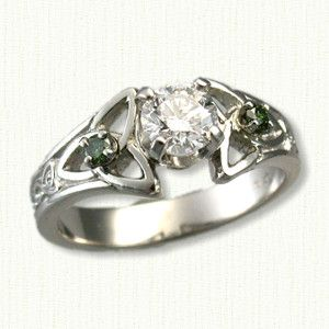 celtic marishelle engagement ring shown in platinum with a 53ct round diamond - Wiccan Wedding Rings