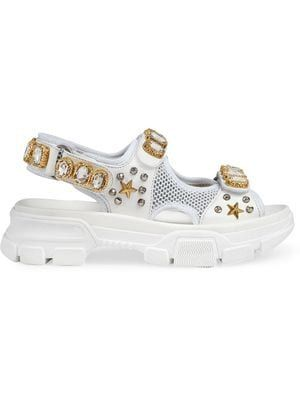 fedb6cb57ce Leather and mesh sandal with crystals