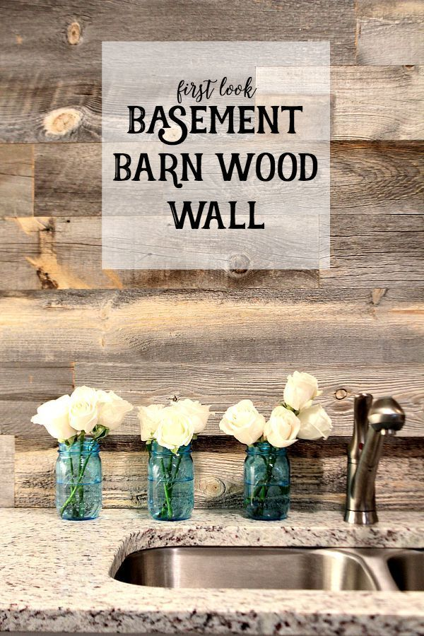 Basement Wood Wall - Super easy DIY - Wood planked walls in a few hours! First look Basement Barn Wood Wall at Refreshrestyle.com