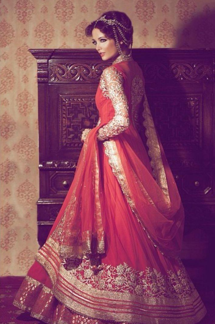 bridal lehenga and jewelry. #IndianBridalHairstyle #IndianBridalMakeup #IndianBridalFashion