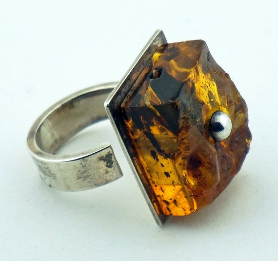 BALTIC AMBER RING sterling silver massive adjustable unisex raw untreated organic rare