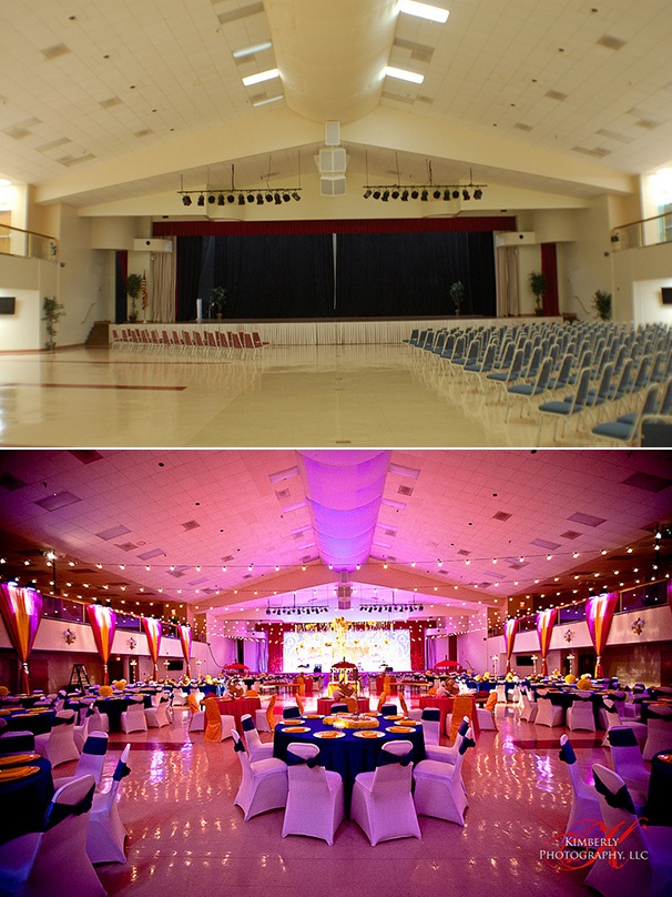 Wedding Reception At The Indian Cultural Center In Tampa Before And After Lighting By