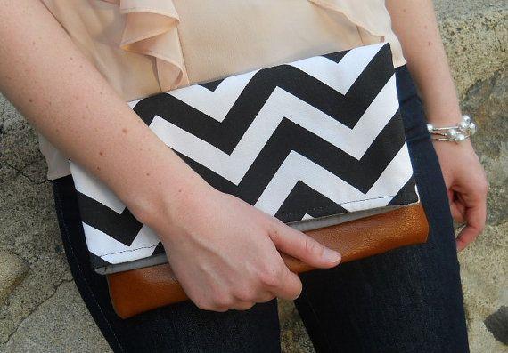Foldover Chevron Clutch with leather bottom, bridesmaid black chevron Bag, zig zag, Purse, black and white on Etsy, $36.00
