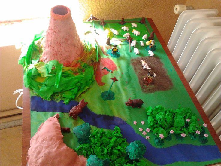 Resultado de imagen para maqueta de volcan con animales etc