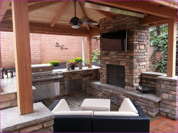 40 Cozy Covered Outdoor Kitchen With Fireplace Beauty Room Decor Covered Outdoor Kitchens Kitchen Fireplace Outdoor Kitchen Countertops