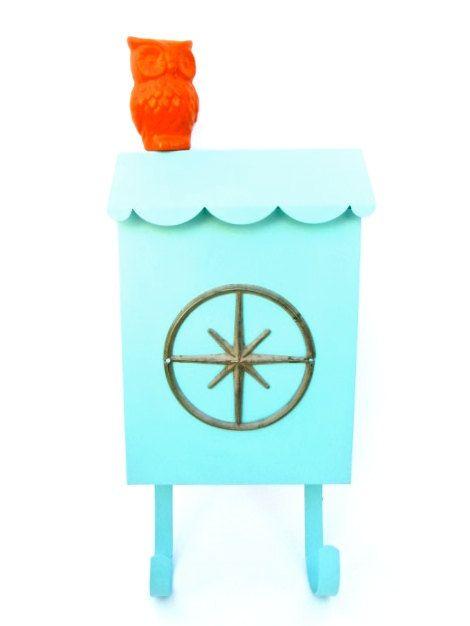 Mid Century Modern Turquoise Metal Mailbox | Starburst Emblem | Atomic Era Letter Box by ELECTRICmarigold on Etsy