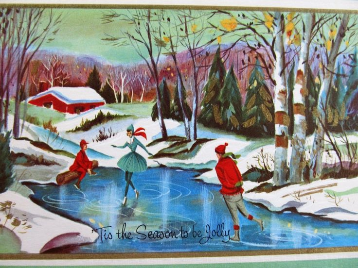 """Vintage Christmas Card Mid Century Girl In Dress Young Man Skating On Pond FOR SALE • $12.99 • See Photos! Money Back Guarantee. Vintage Greeting Card ~ Front of card ONLY ~ Embossed ~ Gold Gilt ~ Approx 6 1/2"""" x 4 1/2"""" ~ A Crisp Clean. Please look at all of the 172520166769"""