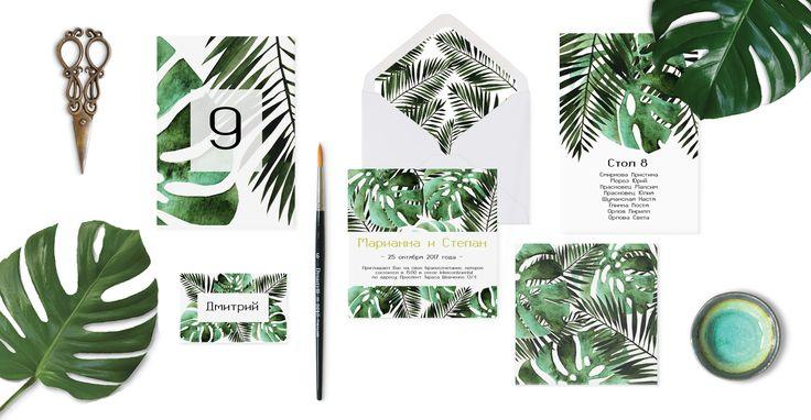 """Коллекция свадебной полиграфии """"Тропический Дождь"""": приглашение, схема рассадки, именная карточка и номерок на стол"""