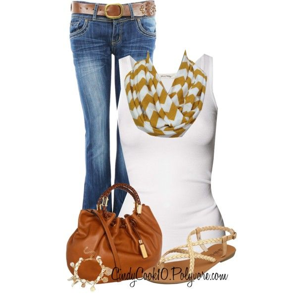 """Mustard & White Chevron Jersey Infinity Scarf **** my """" when I get super skinny"""" outfit wish list"""