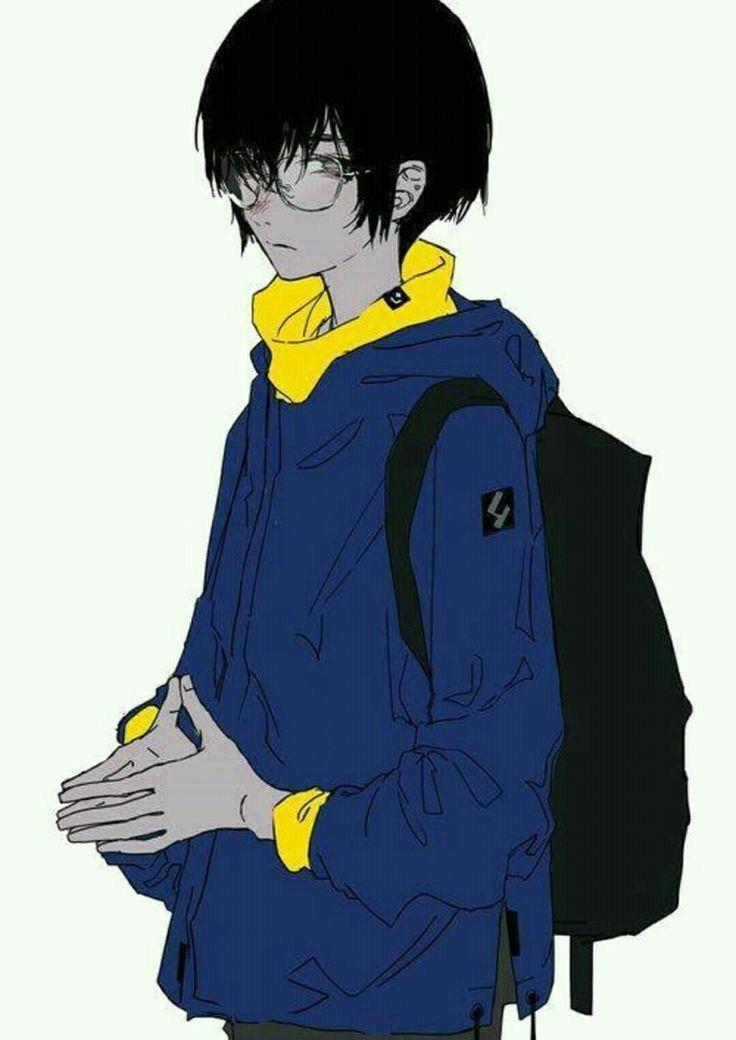 Anime Guy Black Hair Suit Sporty Casual Glasses Backpack Anime Guys Anime Boy Anime