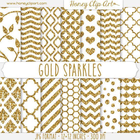 Printable Gold Glitter Patterns: Damask, Stripe, Confetti Dot - Gold Sparkle Digital Paper - Elegant White and Gold Sparkly Backgrounds