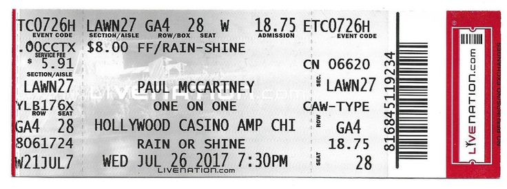 1- Paul MCCartney One On One Tour Ticket Hollywood Casino Amp,Chicago 7-26-2017