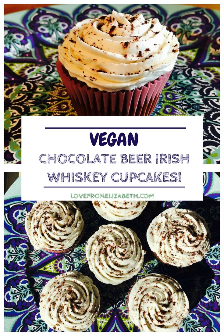 Vegan Irish Whiskey Cupcakes | Looking for the perfect vegan cupcake to kill it at your next party? These Chocolate Beer Irish Whiskey Cupcakes are your best friend.