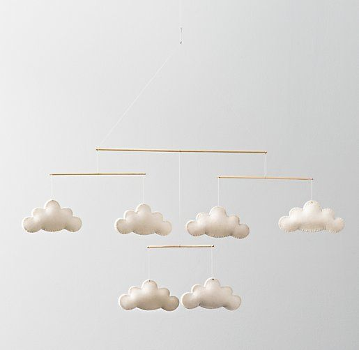 Wool Felt Cloud Mobile-Pretty sure I can make this too.