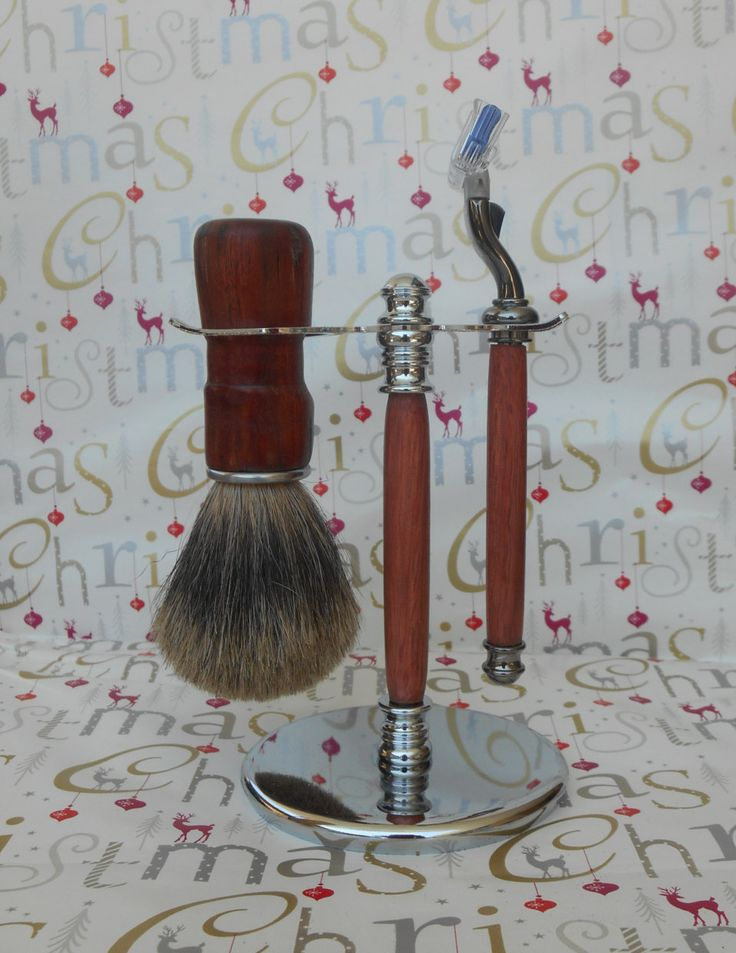 Shaving Kit -  Mach 3 Titanium Nitride (TN) Razor and Silvertip Badger Brush Combination with it's Coordinating Chrome Stand by JazzTreasures on Etsy