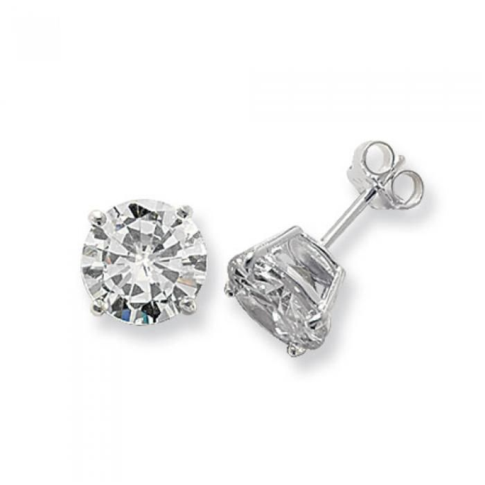 925 SILVER 10MM ROUND CUBIC ZIRCONIA 4-CLAW SET STUD EARRINGS - Attenborough Pawnbrokers & Jewellers #silver #brilliant #cubiczirconia #solitaire #stud #earrings #jewellery #attenborough #bethnalgreen #london