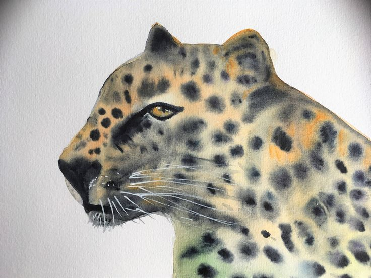 Leopart watercolour painting by KnottyThistle on Etsy