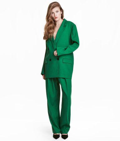 Wide-leg Wool-blend Pants | Green | WOMEN | H&M US