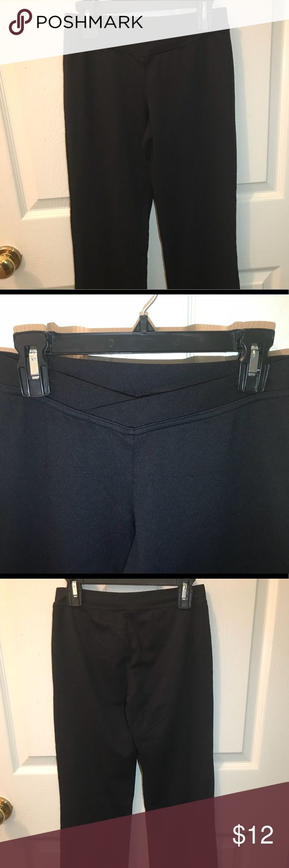"Bloch Jazz Pants These are black jazz pants that I bought about 3 years ago and they are a size small.  They are the brand ""Bloch"" and have a v-front waist, as shown in the last photo.  There is a tiny white stain on the pants, as shown in the last photo.  Offers are welcome! Just trying to get rid of it 😊 Bloch Pants"