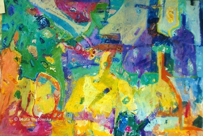 """Beata Wąsowska, malarstwo - obraz """"Wczoraj i dziś"""", 60x90 cm, olej na kartonie Arche, 1996"""