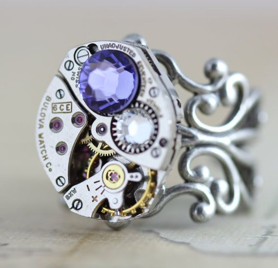 Steampunk Ring Cocktail Ring - Steam Punk Jewelry Purple Tanzanite Crystal…