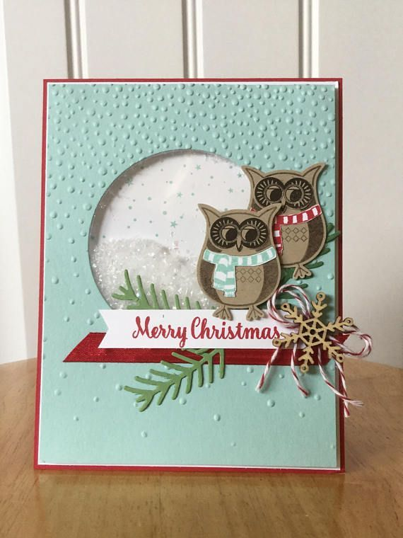 Stampin Up handmade Christmas card winter owls & snowflake
