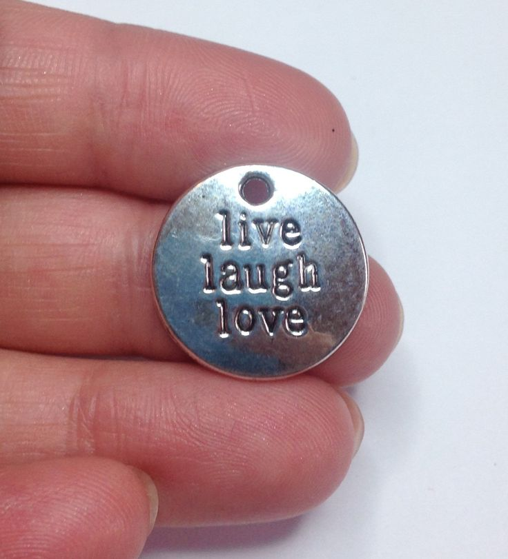 A personal favourite from my Etsy shop https://www.etsy.com/uk/listing/ 272108386/1-live-laugh-love-antique-silver-circle #livelaughlove #inspirational disk charms, live laugh love, DIY jewellery, wholesale jewellery, inspirational quotes