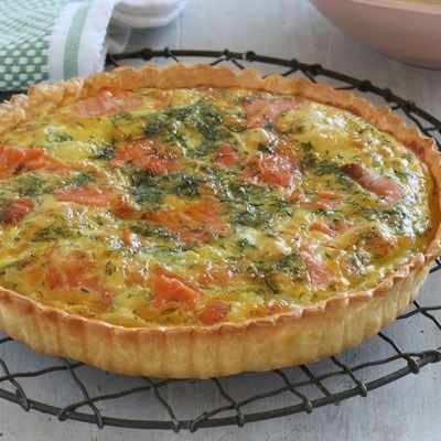 Smoked salmon and brie quiche