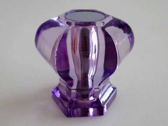 Purple Glass Crystal Look Knobs Dresser Knob Drawer Knobs