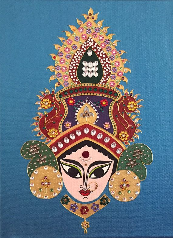 Durga is an Indian goddess possessing both beauty and strength. I have been enamored by her piercing eyes and sharp features. This painting is embellished with Swaroski crystals to emphasize her glory.