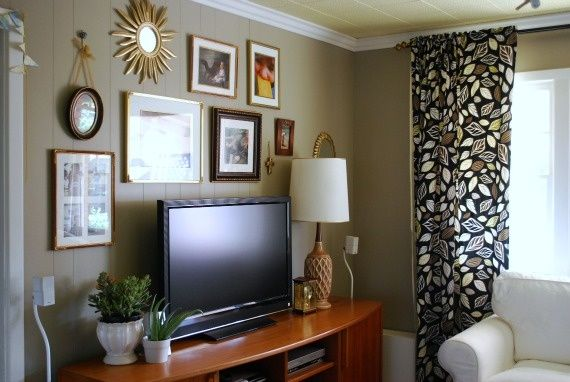 208 best living sitting lounging images on pinterest - Hanging tv on wall ideas ...