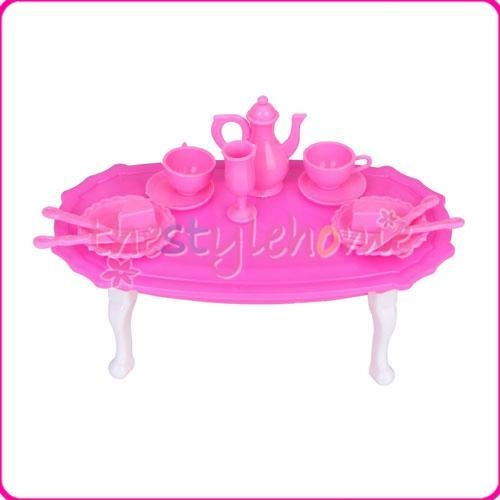 Pink Dining Room Furniture Table Sets for Barbie Kitchen Dollhouse Accessories | eBay