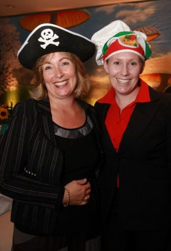Mad Hatters Tea Party at Top of the Town, Hyatt, L to R , Anna Hayward and Samantha Stirling