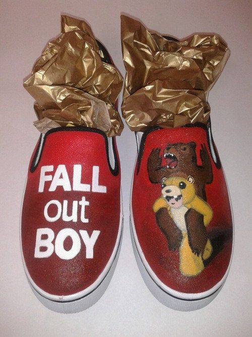 Custom Hand Painted Fall Out Boy Slip on Shoes by InsidiousApparel, $70.00