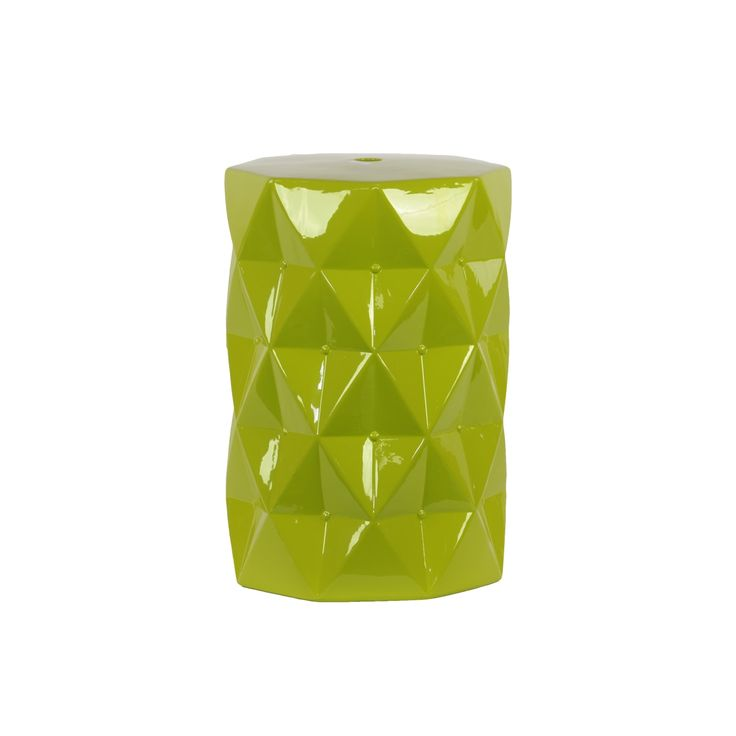 Urban Trends Collection Contemporary Ceramic Stool With Geometrical Diamond Shape Pattern In Green (Ceramic)