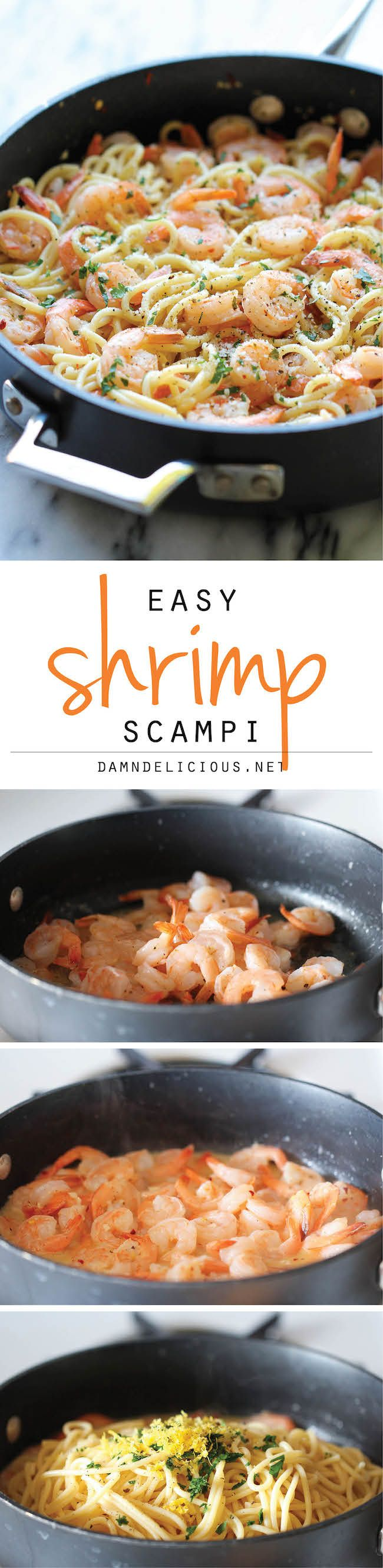 Shrimp Scampi - You won't believe how easy this comes together in just 15 minutes - perfect for those busy weeknights! http://food.jexshop.com/