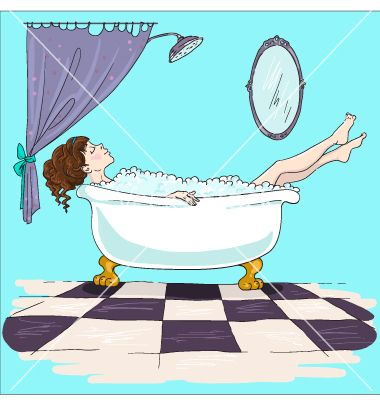 Pics Of Girl taking bath relaxation time vector by kamenuka on VectorStock