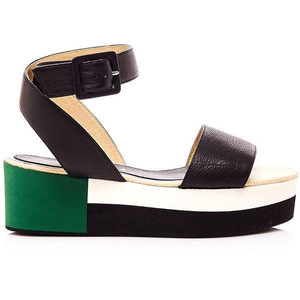 Palomitas Block Sandals found on Polyvore featuring shoes, sandals, black, sandales, black block-heel sandals, black sandals, wide shoes, open toe sandals and leather shoes