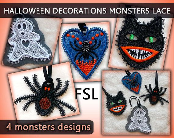 Halloween decorations monsters lace - FSL - lace - 4x4hoop - Machine embroidery…