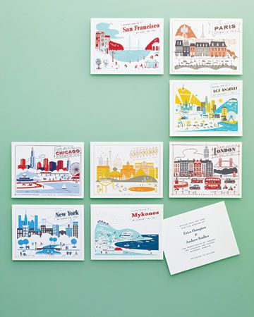 Postcard Invitations  For a destination shower, invite guests with a postcard. Choose one that captures the spirit of the wedding or honeymoon location while providing plenty of space for important information. One of these colorful retro-inspired announcements is just the ticket. Cards by Lab Partners for Hello!Lucky.